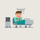 Uomo che riposa al letto di ospedale Immagine Stock Libera da Diritti
