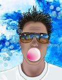 uomo che salta una bolla immagini stock libere da diritti