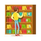 Uomo che sceglie un libro dallo scaffale per libri, illustrazione sorridente di Person In The Library Vector Immagini Stock Libere da Diritti