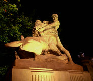 Uomo che sconfigge leone Immagine Stock