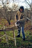 Uomo che sega un bordo Fotografia Stock