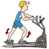 Uomo che si esercita sulla macchina ellittica Immagini Stock