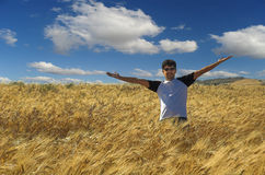 Uomo che si leva in piedi nel campo del raccolto Fotografie Stock