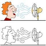 Uomo che si raffredda fuori per mezzo di un ventilatore elettrico illustrazione vettoriale