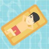 Uomo che si rilassa nell'illustrazione di vettore della piscina Fotografia Stock