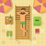 Uomo che si rilassa sulle chaise longue al poolside illustrazione vettoriale