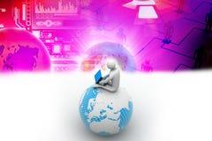Uomo che si siede sul globo con il computer portatile Immagini Stock Libere da Diritti