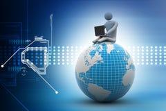 Uomo che si siede sul globo con il computer portatile In cima al mondo Fotografie Stock