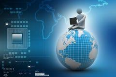 Uomo che si siede sul globo con il computer portatile In cima al mondo Fotografia Stock Libera da Diritti
