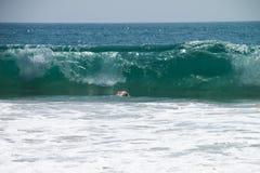 Uomo che si tuffa il grande oceano enorme della Sri Lanka dell'onda fotografia stock