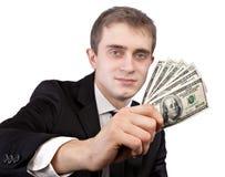 Uomo che sostiene le banconote Immagine Stock