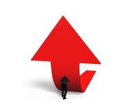 Uomo che spinge la freccia rossa di tendenza 3D verso l'alto Fotografie Stock