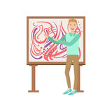Uomo che sta accanto alla pittura astratta, Person Illustration creativo Immagini Stock