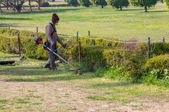Uomo che taglia erba con la macchina fotografie stock
