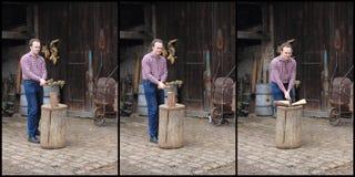 Uomo che taglia legno Fotografie Stock