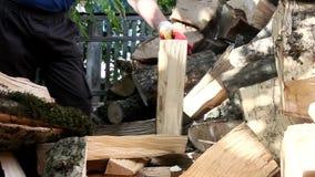 Uomo che taglia legno a pezzi con un'ascia archivi video