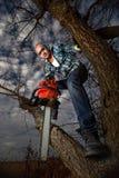 Uomo che taglia un ramo Fotografia Stock Libera da Diritti