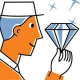 Uomo che tiene grande diamante Immagine Stock