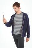 Uomo che tiene il rasoio diritto del bordo Fotografie Stock Libere da Diritti