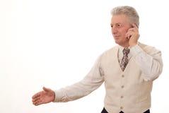 Uomo che tiene il suo pollice in su Fotografia Stock Libera da Diritti