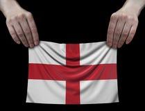 Uomo che tiene la bandiera di inglese Immagini Stock Libere da Diritti
