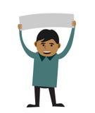 Uomo che tiene segno in bianco Fotografia Stock