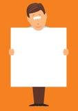 Uomo che tiene un grande segno in bianco Fotografia Stock