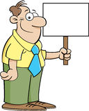 Uomo che tiene un segno Fotografia Stock