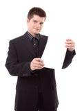 Uomo che tiene un tabellone per le affissioni Immagine Stock Libera da Diritti