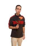 Uomo che tiene una Rosa Immagini Stock Libere da Diritti
