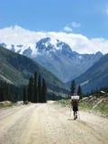 Uomo che trekking in montagna Fotografia Stock Libera da Diritti