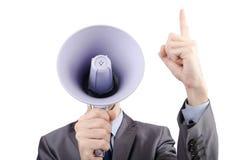 Uomo che urla con l'altoparlante Fotografie Stock Libere da Diritti