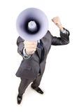 Uomo che urla con l'altoparlante Fotografia Stock Libera da Diritti