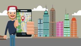 Uomo che usando GPS app all'animazione della città HD illustrazione di stock