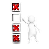 Uomo choice giusto di concetto 3d che indica lista di controllo Fotografie Stock Libere da Diritti