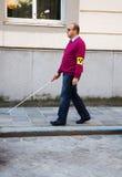 Uomo cieco con il bastone Immagine Stock Libera da Diritti
