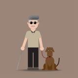 Uomo cieco con il cane Fotografia Stock Libera da Diritti