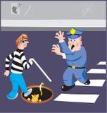 Uomo cieco e poliziotto Fotografia Stock Libera da Diritti