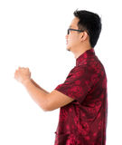Uomo cinese asiatico di vista laterale Fotografia Stock Libera da Diritti