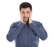 Uomo colpito isolato di affari Concetto in mancanza di comprensione Fotografie Stock