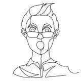 Uomo colpito nella linea arte del ritratto uno degli occhiali Espressione facciale maschio sorpresa Siluetta lineare disegnata a  Fotografia Stock Libera da Diritti