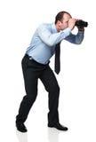 Uomo con binoculare Fotografia Stock Libera da Diritti