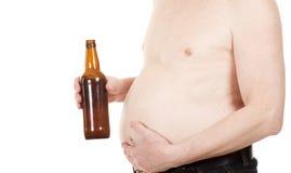 Uomo con birra Fotografia Stock