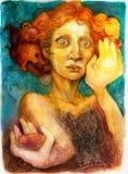 Uomo con capelli rossi, materiale illustrativo variopinto dettagliato, ritratto ornamentale Fotografia Stock Libera da Diritti
