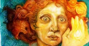 Uomo con capelli rossi, materiale illustrativo variopinto dettagliato, ritratto ornamentale Immagine Stock Libera da Diritti