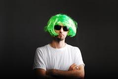 Uomo con capelli verdi Fotografia Stock Libera da Diritti