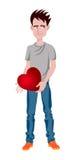 Uomo con cuore, personaggio dei cartoni animati divertente Fotografia Stock