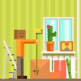 Uomo con di cartone del contenitore la nuova Apartement Pixelated illustrazione di Mas Painting The Ceiling In illustrazione di stock