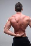 Uomo con di dolore la parte posteriore sopra Fotografie Stock