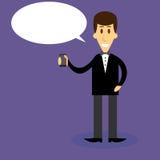 Uomo con discorso della bolla dello smartphone Fotografie Stock